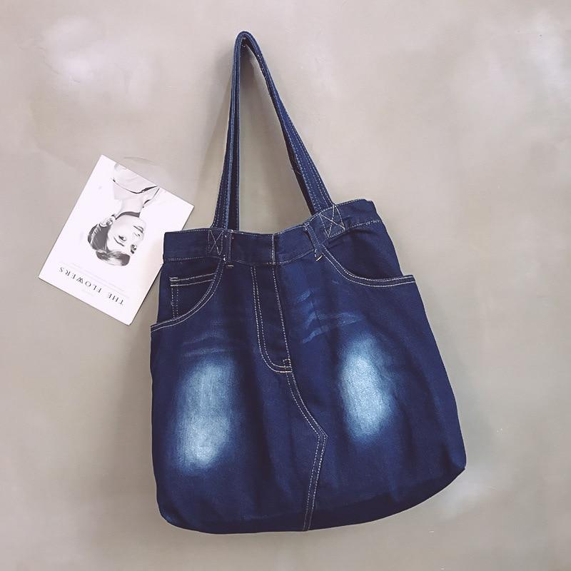 New Hot Sale Blue Washed Denim Canvas Bag Shoulder Fashion Trend Wild Handbag Simple Casual Canvas Bag