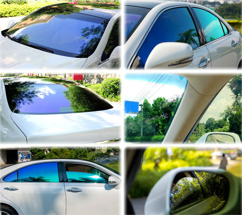 Chameleon Side Window Tint Solar Films Car Window Film Home Scratch Resistant Membrane 1.52x0.5m the window office paper sticker pervious to light do not transparent bathroom window shading white frosted glass tint