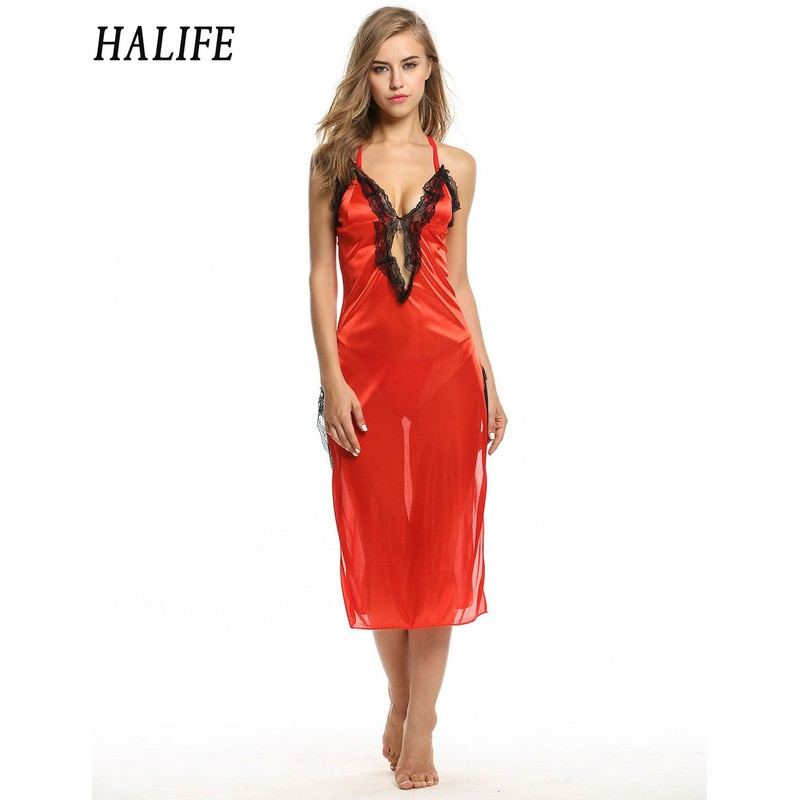 HALIFE Women Red Night Gown Sexy Lace Backless Sheer Sleepwear Nightwear Lingerie And G-String Backless Night Dress Femme 915