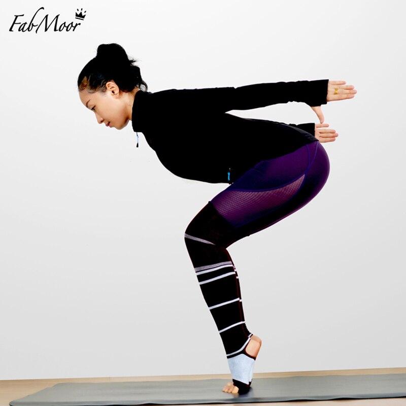 Prix pour Dame Genou Haute Yoga Chaussettes Sport Bas Chaussettes de Remise En Forme D'entraînement chaussettes Femmes étrier De Compression Sans Orteils Chaussettes jambières