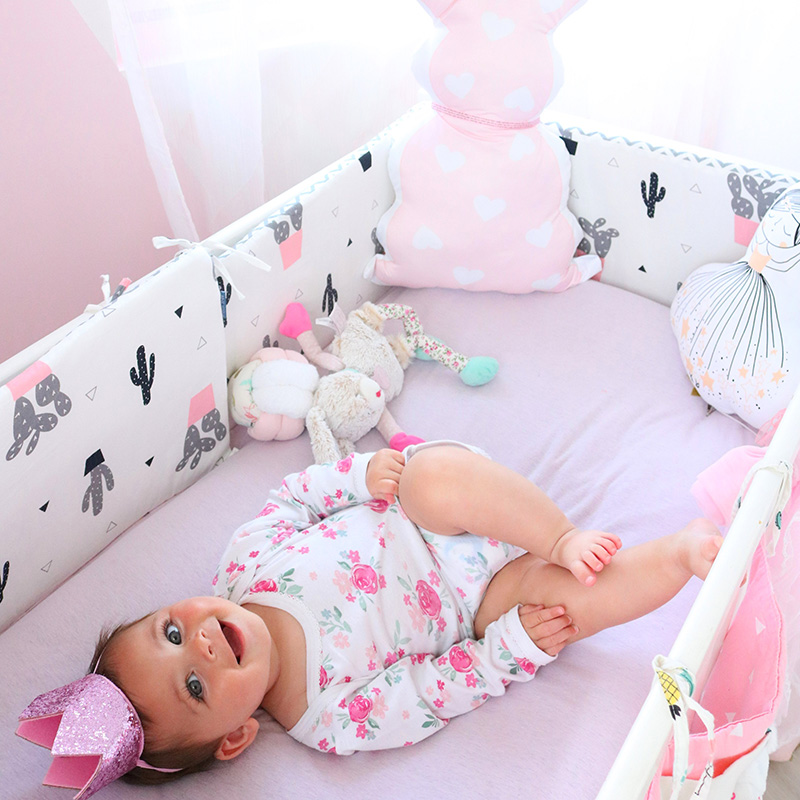 Newborn Baby Bed Bumper Pure Weaving Plush Knot Crib Bumper Kids Bed Baby Cot Protector Baby Room Decor-白色-1M