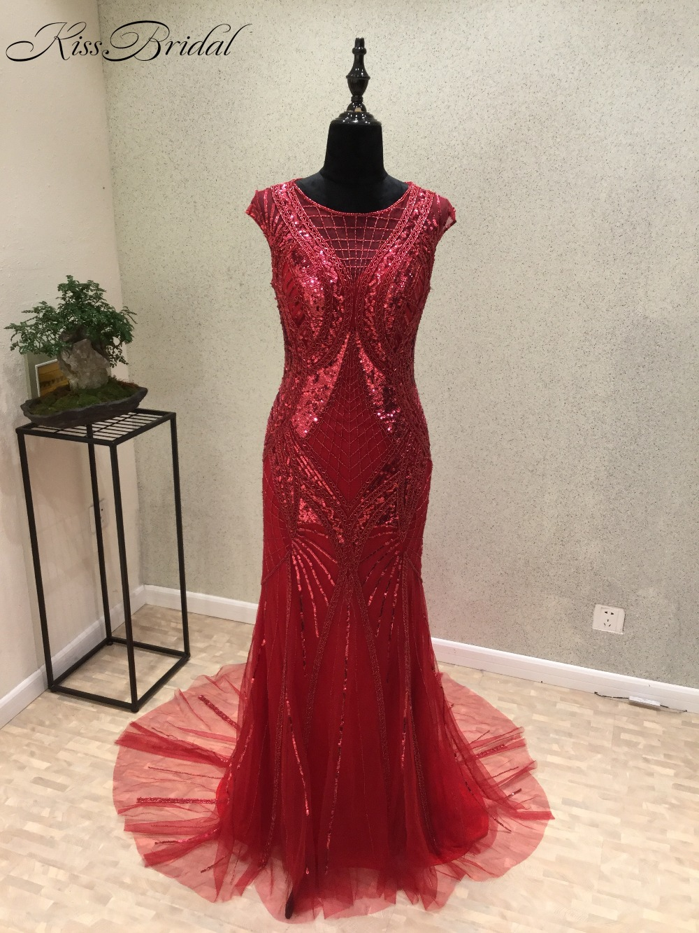 Vestido de festa longo New Mermaid   Evening     Dresses   O-Neck Cap Sleeve Floor Length Sequined Tulle Party Prom   Dresses