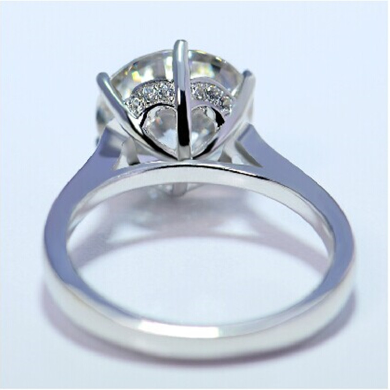 Luxury Quality 4Ct Rounc Cut Simulate Diamond Ring Solid 18K 750