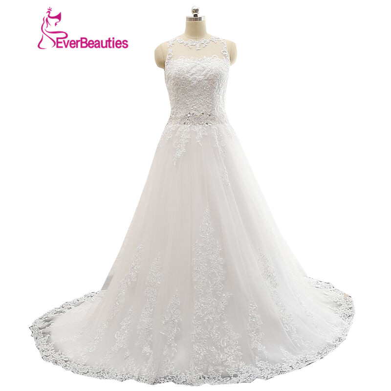 Vestidos De Novia Beskjeden A-line Sheer Scoop Appliqued Lace Beaded Bælte Backless Wedding Dress 2019