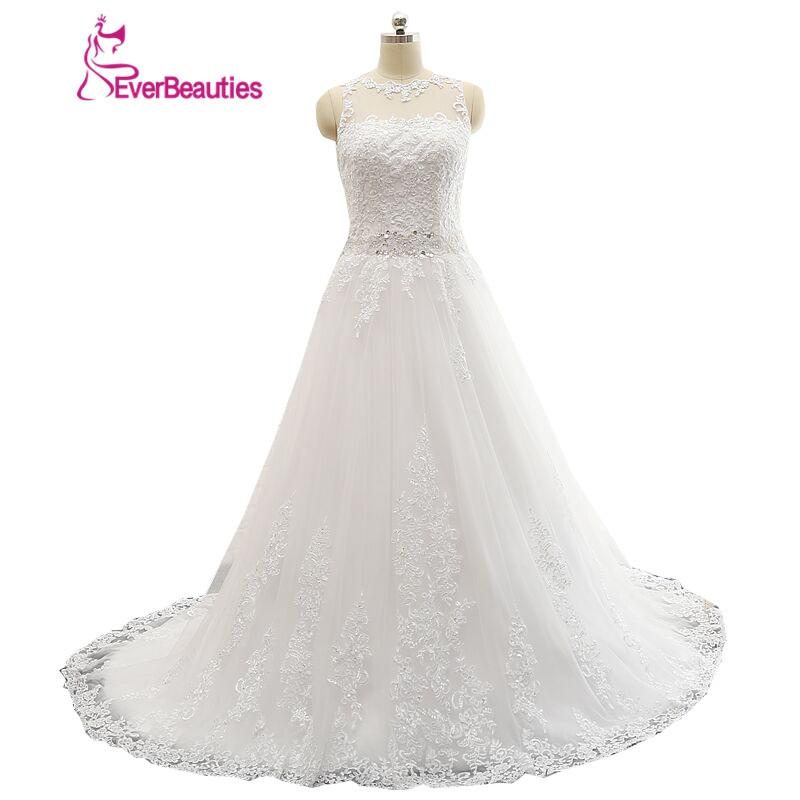 Vestidos De Novia Modest A-line Sheer Scoop Apliques de encaje con cuentas cinturón Backless vestido de novia 2019