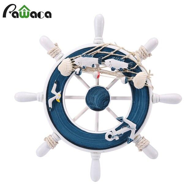 Nautical Mediterranean Style Wood Ship Steering Wheel Fishing Net Wall Decor Wooden Boat For Diy