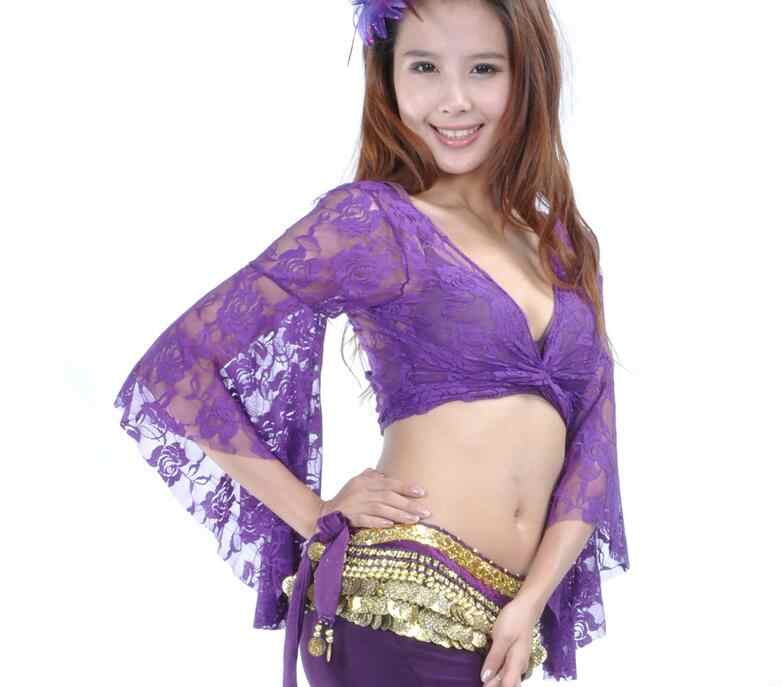 8e88bae0d ... 13 Colors Women Belly Dance Bandage Long-sleeve Wrap Top Tribal Lace  Costume Sexy V ...