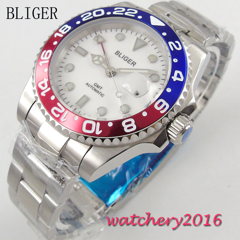 40mm Bliger White Dial Luminous Hands Sapphire Crystal Analog GMT Automaic Movement Men's Mechanical Wristwatches стоимость