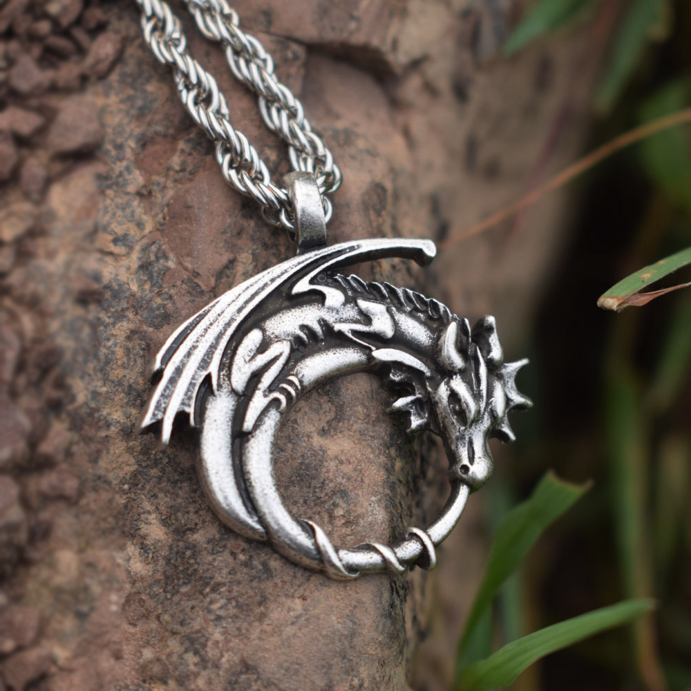 SanLan Winged Dragon On Moon Pendant Jewelry Dragon Pendant Animal Lover Gift Goth Medieval