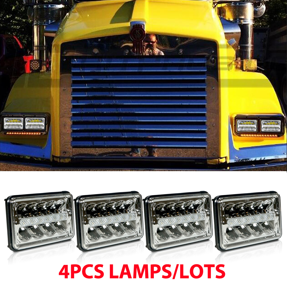 4pcs 6x4 4x6 Inch LED Headlights For Kenworth T800 T400 T600 W900B W900L Classic Bulb Led sealed beam with DRL headlights посуда drinkware tableware teaware 1 x 6 1 400 infuser 4 b tdts043 x06