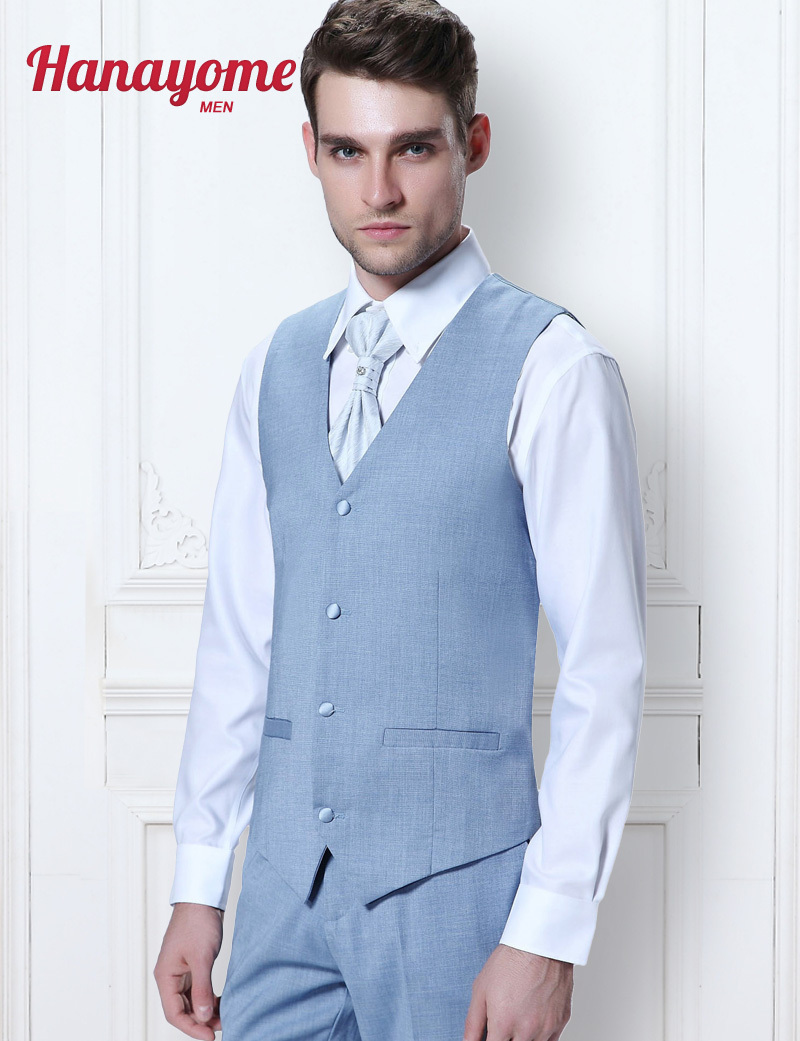 Men Blue 3 Piece Suits To Buttons Slim Fit Suit Charcoal Blue Tuxedo ...