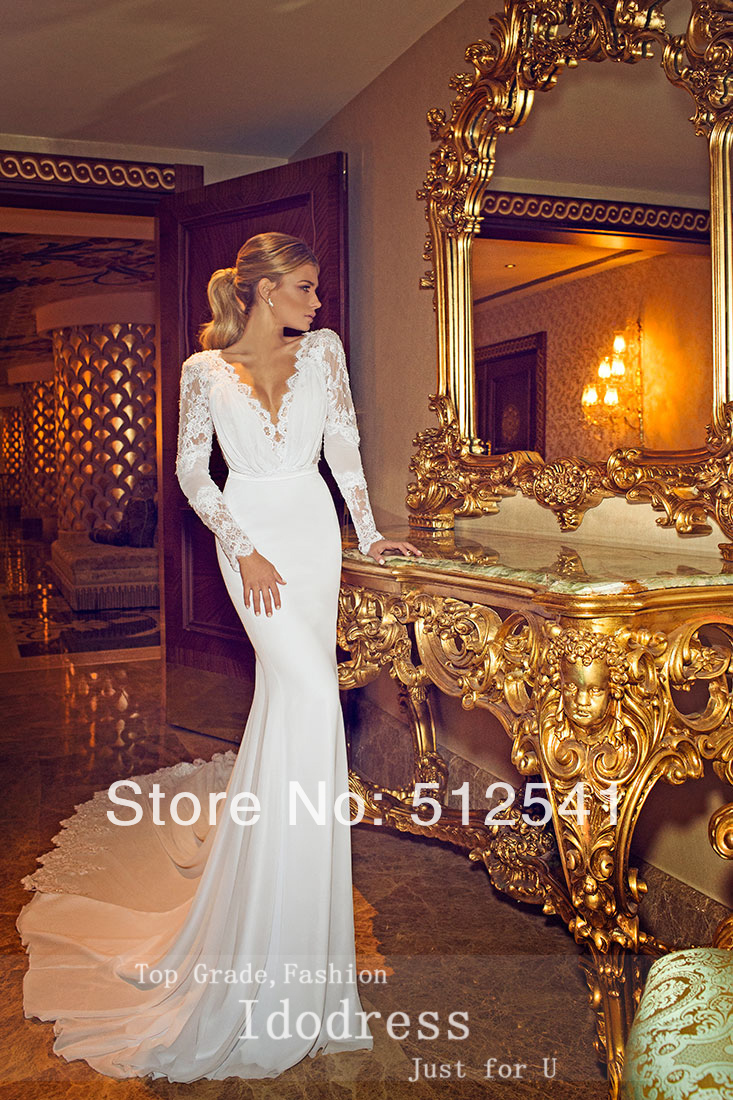 Backless V Neck Trumpet Mermaid Chaple Train 2015 Wedding Dresses ...