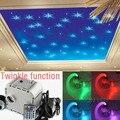 NEW 32w RGB Twinkle LED fiber optic star ceiling light kit 0.75mm 500pcs*2m optical fiber end glow 28key RF led light engine