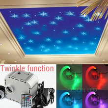 NEW 32w RGB Twinkle LED fiber optic star ceiling light kit 0.75mm 500pcs*2m optical fiber end glow 28key RF led light engine