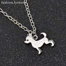 fashion lychee Vintage Silver Color Animals Chihuahua Poodle Dachshund Pug Dog Pendant Necklace For Men Women Jewelry(China)