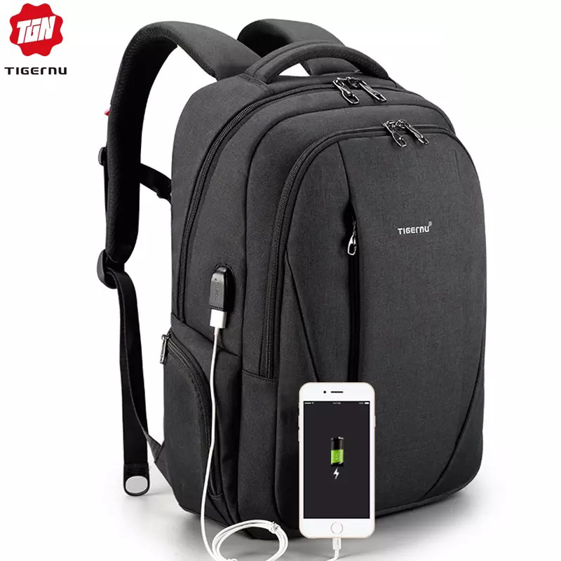 Tigernu USB Waterproof Anti Theft Backpacks for Men 15 6 inch Laptop Male Backpack for Travel