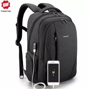 Image 1 - حقائب ظهر مضادة للماء من tigerنو مزودة بمنفذ USB للرجال لحمل الكمبيوتر المحمول مقاس 15.6 بوصة حقائب سفر مدرسية للمراهقين