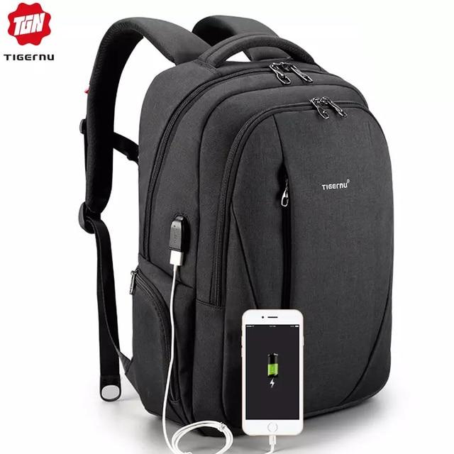 حقائب ظهر مضادة للماء من tigerنو مزودة بمنفذ USB للرجال لحمل الكمبيوتر المحمول مقاس 15.6 بوصة حقائب سفر مدرسية للمراهقين