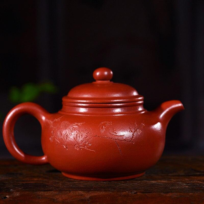 280ml Yixing Teapot Authentic Full Handmade Ore Zhu Mud Dahongpao Letter Double Line Antique Pot Kung Fu Tea pot Free Shipping