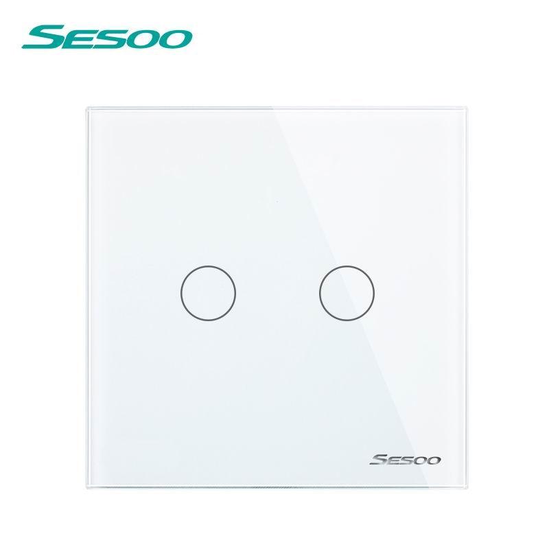 SESOO EU UK Universal Wall Light Switch 110 220V Crystal Glass Panel Switch 2 Gang 1