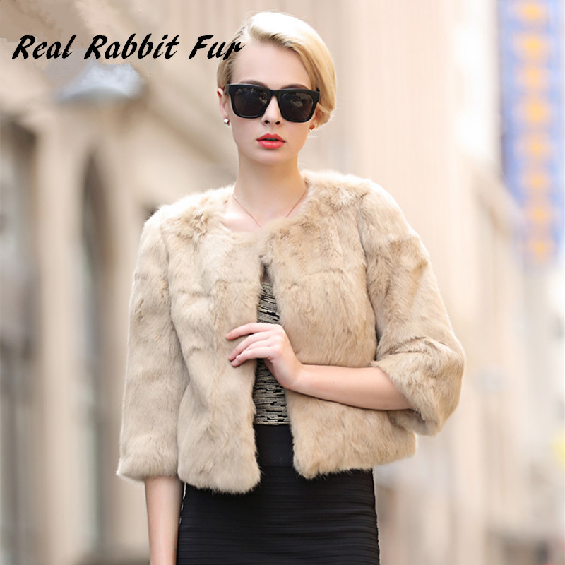 EVANDING Women Genuine Rex Rabbit Fur Coat Real natural Rabbit ...