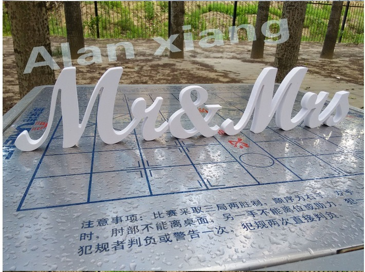 Free Shipping Mr&Mrs Sign Wooden Pvc Letters Wedding Decor