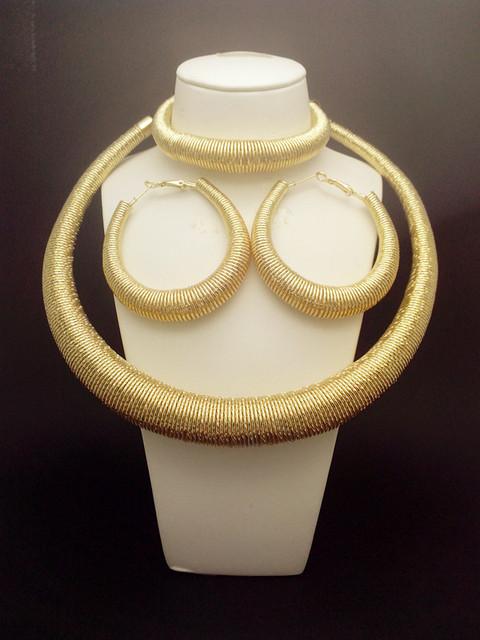 Recién llegado! moda oro de la joyería loco pesado grande Necklace18K oro verdadero plateado mujeres regalo. la joyería de traje africana