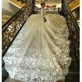 Flor 3D de lujo Apliques Boda Vestidos de Bola de la Falda Hinchada Vestidos de Estilo Árabe de Manga Larga Vestido de Novia Capilla Tren Vestido de China