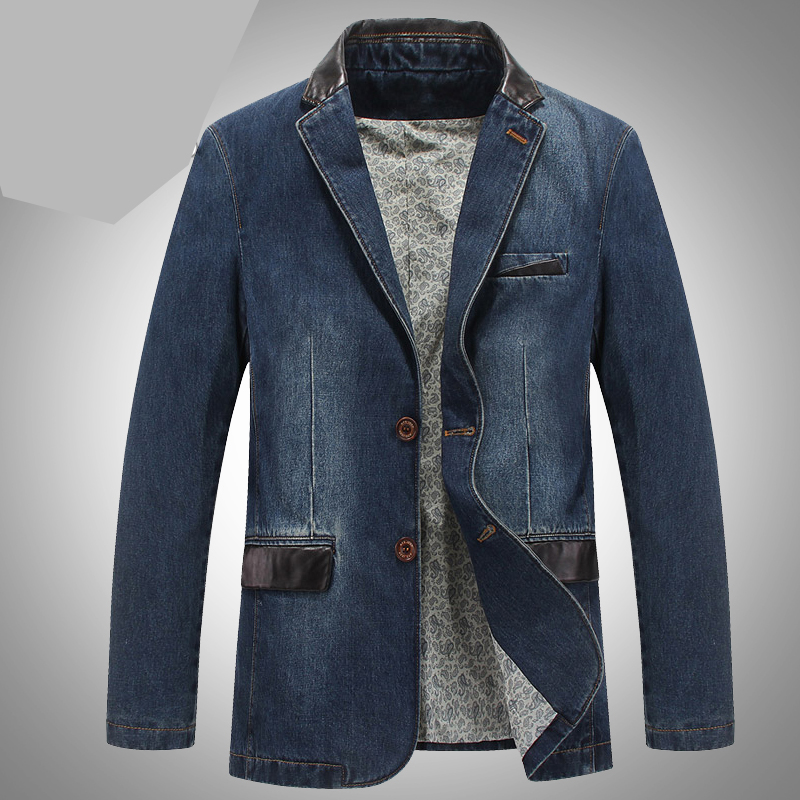 Spring Fall Smart Casual Mens PU Leather Patchwork Slim Fitted Full Sleeve Business Blazer , Male Men Denim Blazers , 4XL Coat