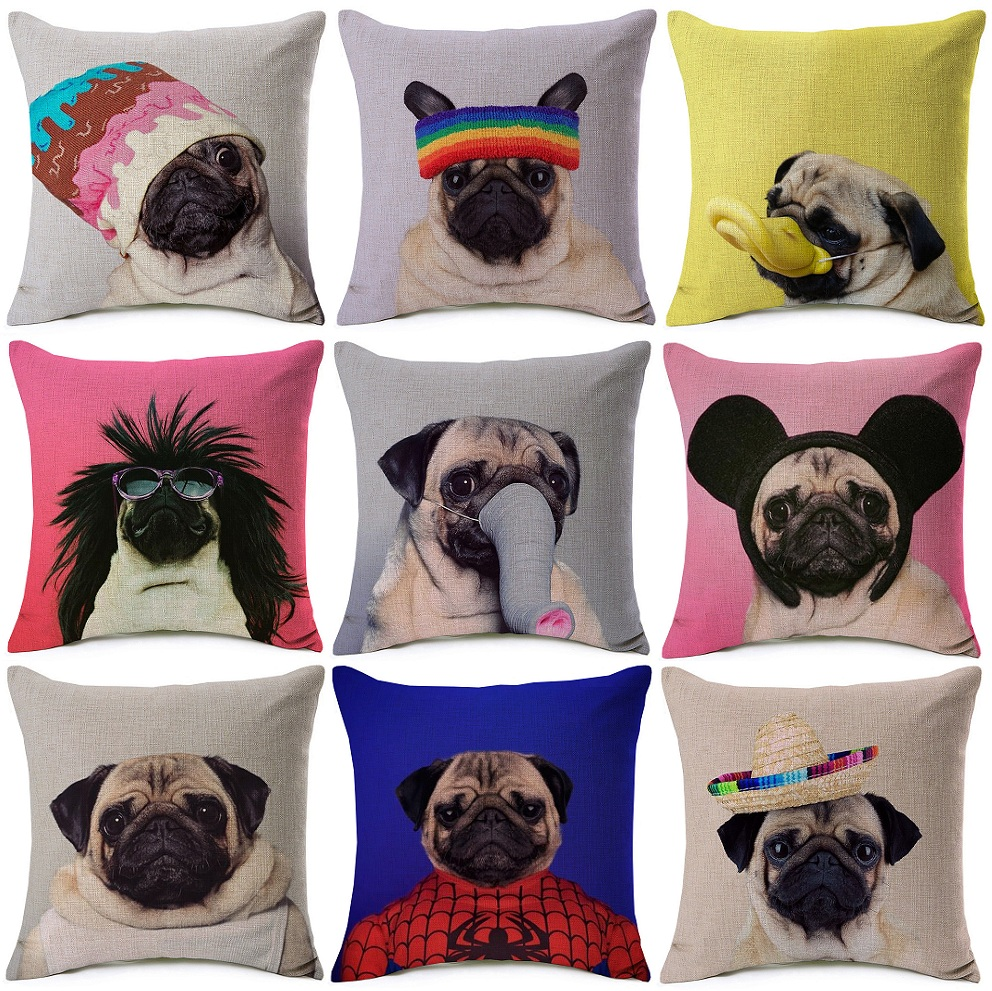 Funny Lovely Pugs Cushion Covers Pug Dog In Costume Art Cushion ...