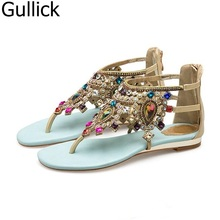 2f6c211d66100 Woman Blue Color Rhinestones Studded Gladiator Flat Shoe Summer Fashion  Back Zipper Hollow Out Sandals Crystal