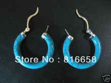 Free shipping@@Brand New Turquoise Silver circle Dangle Earrings Pair