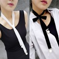 Punk Women Ladies Long Wide Black/White Velvet Ribbon Choker Simulated Pearl Charm DIY Collar Necklace Gothic Jewelry Gifts