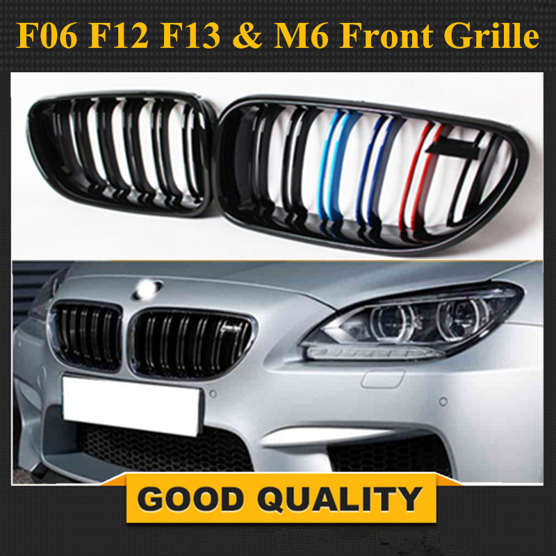 For BMW F06 Grill 6 series F06 F12 F13 & M6 Front Bumper lip Carbon Fiber Front Grille 2012 2013 2014 2015 2016 2017 2018 2019 image