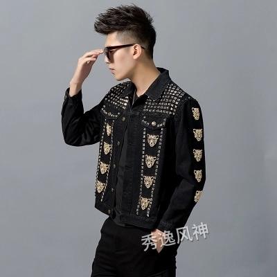 高級メンズラインストーンヒョウ装飾リベットイベント/ステージパフォーマンスショートファッションジャケット/スタジオ/アジアサイズ  グループ上の メンズ服 からの ジャケット の中 3