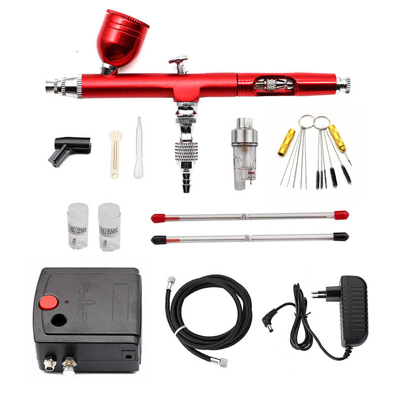 Dual-Action Airbrush Kit Kompresor Air Brush Cat Gun Cleaning Alat Makeup Kuku Pistol Cat Semprot Tato Tubuh Mobil cat