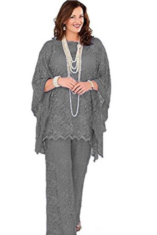Lace Mother Of The Bride Pant Suits 2019 Long Sleeves Three Pieces Formal Women Plus Size Groom Mother Dresses For Wedding