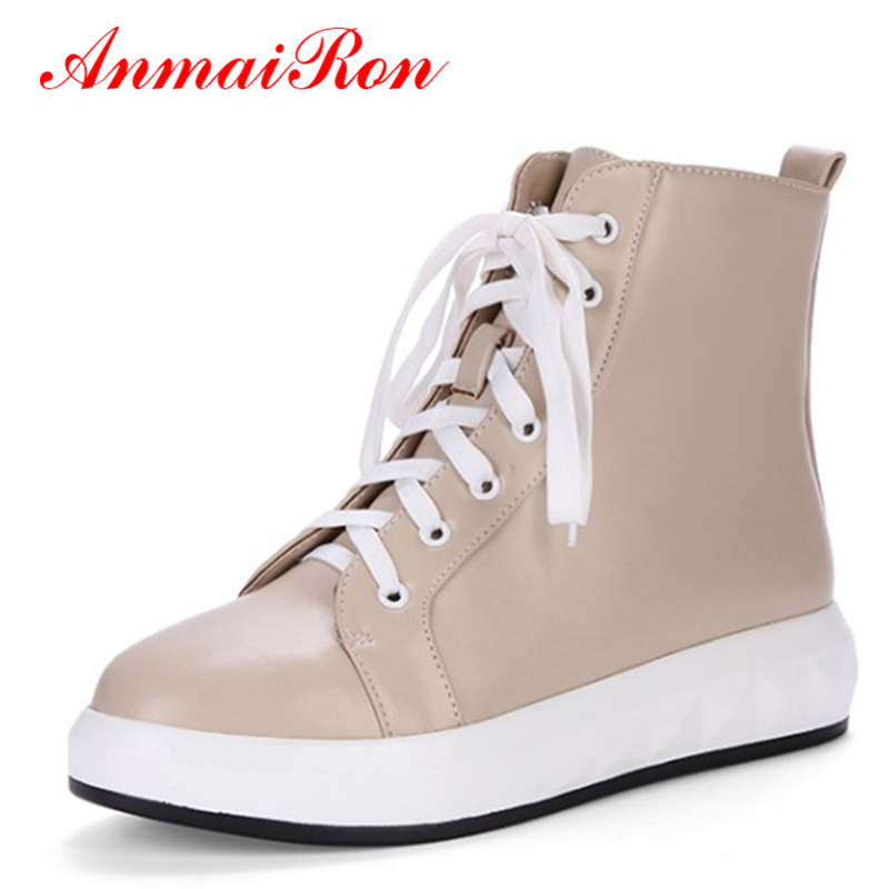 ANMAIRON Women Platform Winter Ankle Boots Autumn Lace-up Flats Shoes Woman Black Apricot White Shoes Womens Sneakers Female купить