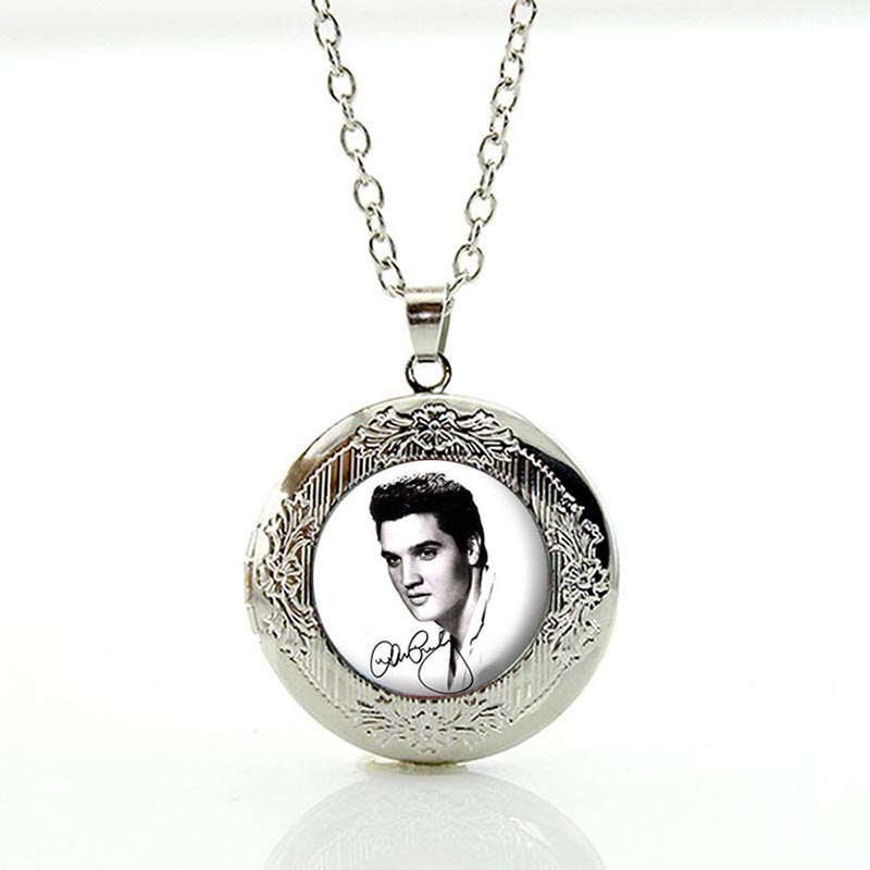 Vintage <font><b>Elvis</b></font> <font><b>Presley</b></font> locket Pendant The King of Rock Jewelry Marilyn Monroe Audrey Hepburn choker statement Necklace N393