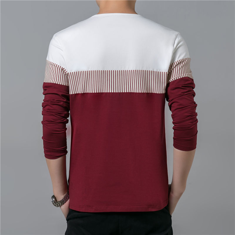 COODRONY T-Shirt Men 17 Spring Summer New Long Sleeve O-Neck T Shirt Men Brand Clothing Fashion Patchwork Cotton Tee Tops 7622 10