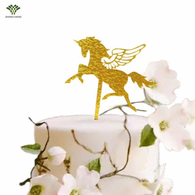 1 Piece Unicorn Cake Topper Horse Stand Picks Acrylic Decoration For Kids Wedding