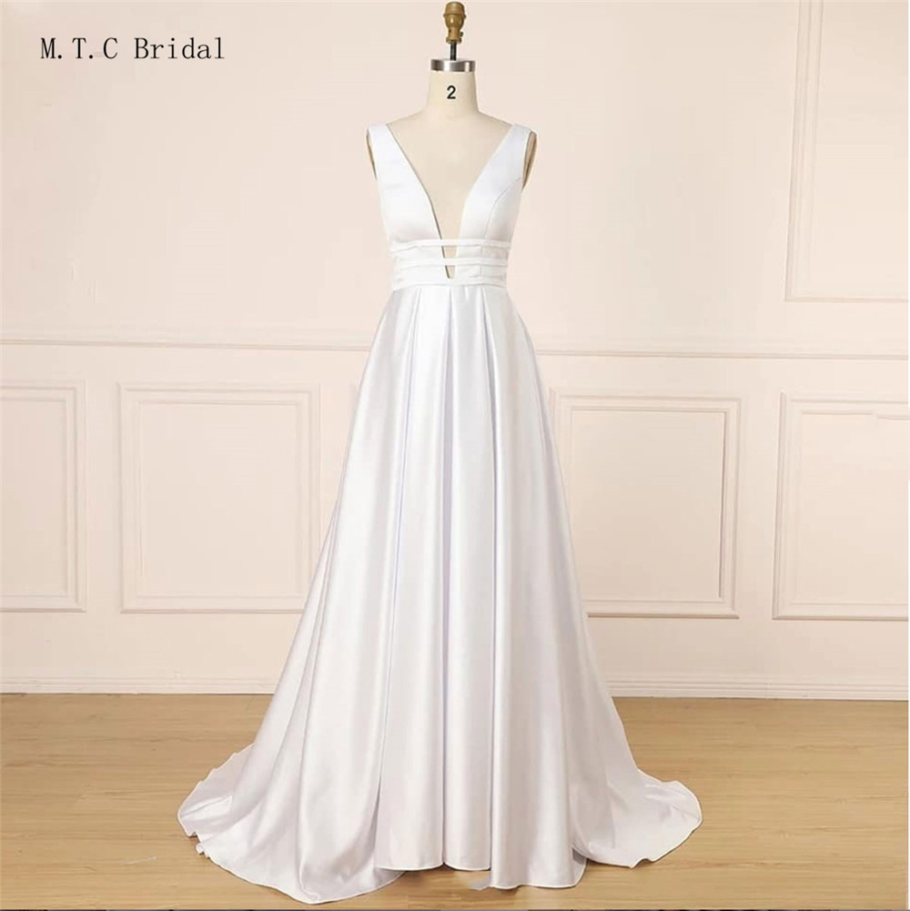 Sexy Backless Wedding Dresses White Satin Deep V Neck A Line Floor Length Charming Bridal Gowns 2019 Cheap Vestido De Casamento
