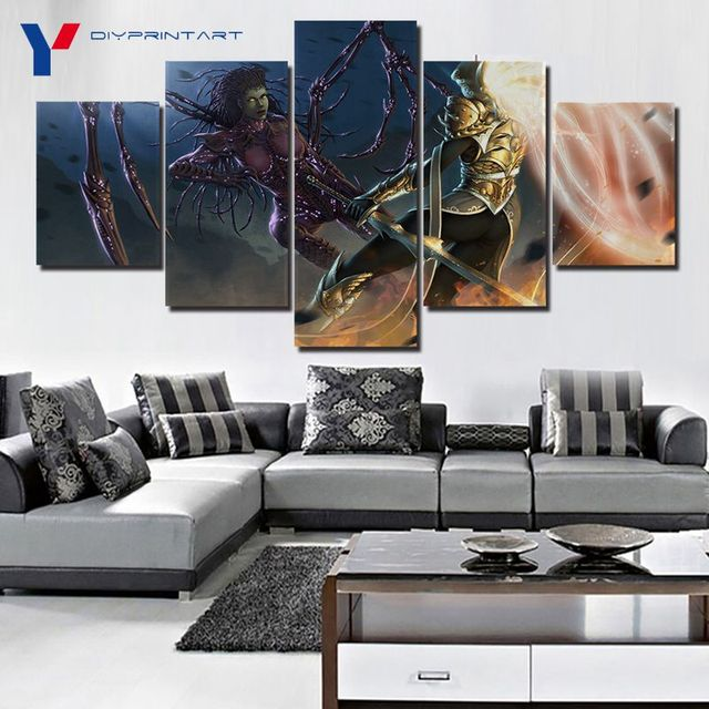 Starcrafts Diablos Characters 5 Panels Decorations for Home Game Poster Wall Painting Living Room A0985 1
