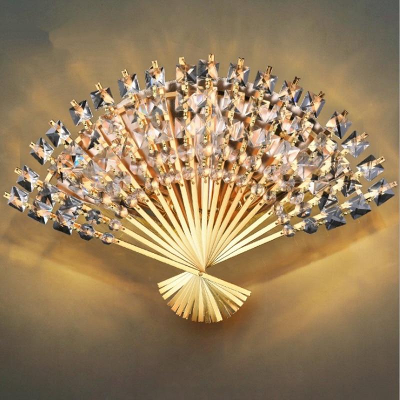 Lampes murales modernes en forme d'éventail lampes murales en cristal européen de luxe appliques de LED de chevet chambre couloir décoration