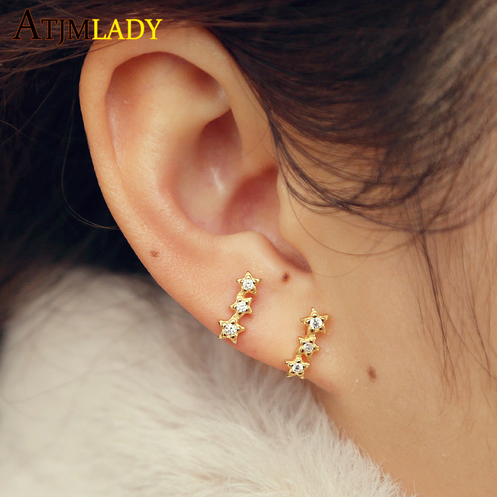 Valentine's Day gold filled three star stud earring 925 sterling silver delicate dainty minimal stacking earring for girl women