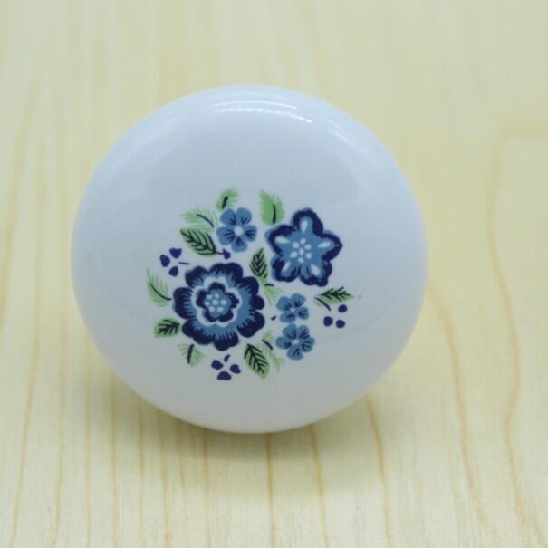 Diameter 38mm white ceramic kitchen cabinet knobs,blue ...