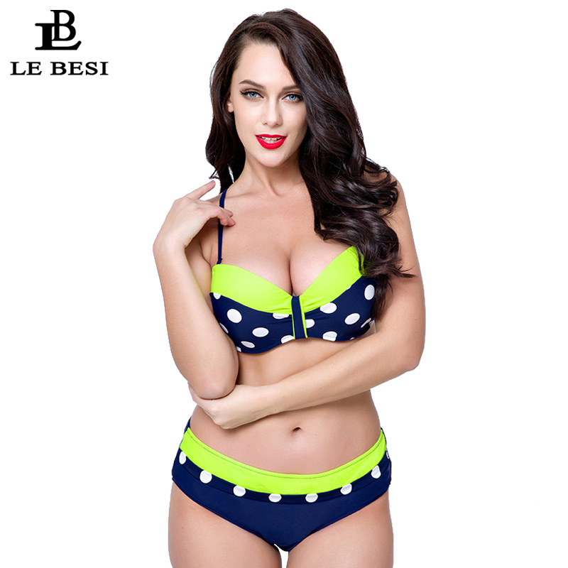ФОТО LE BESI 2017 Print Dot Bikini For Women's Plus Size Bikini Set Swimwear Underwire Push Up Swimsuit Brazilian Bathing Beach Suit