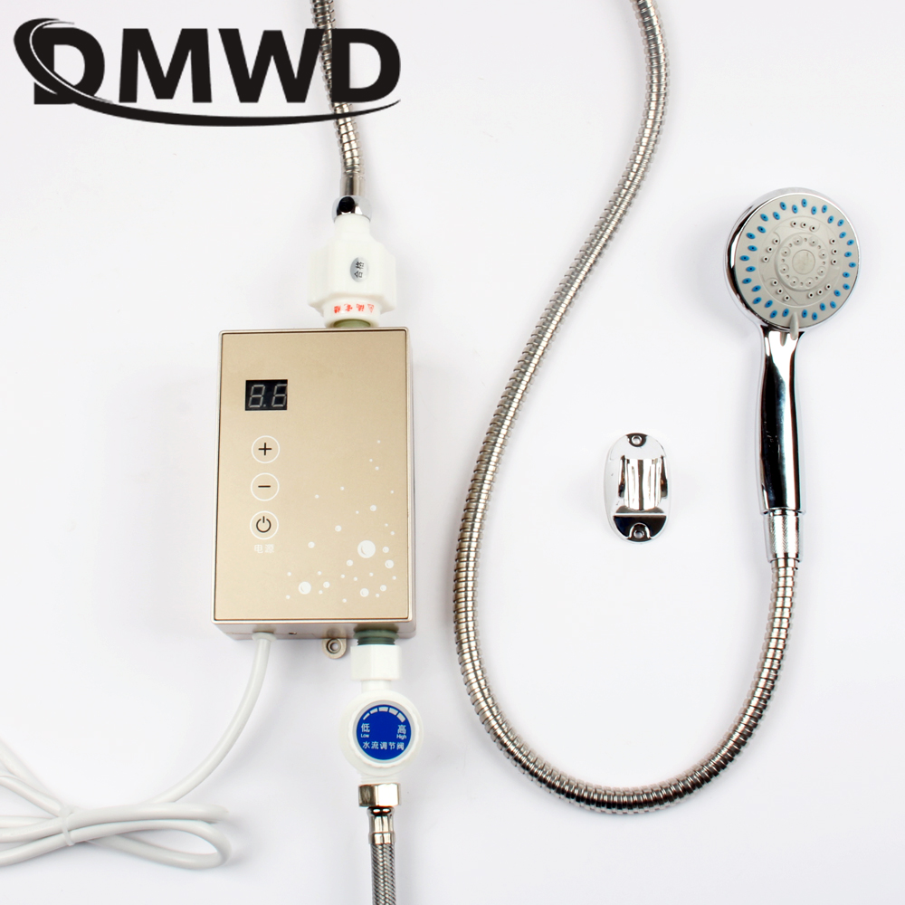DMWD MINI Instant Tankless Electric Hot Water Heater Temperature Display Instantaneous Heating Watering Shower Bathroom Kitchen