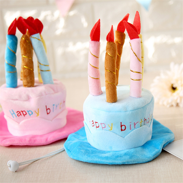 Petstyle Fafa Cake Dog Caps Pink Blue Pet Birthday Hat Candle Lovely Toys Head Accessories PL112