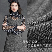 Spring New Silk Wool Cloth Dress Suits Silk Fabric Clothing Wool Fabrics Wholesale High Quality Wool